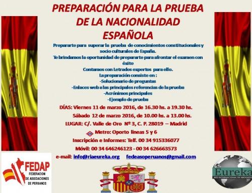 Preparación para la prueba de la nacionalidad española